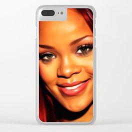Rihanna - Celebrity Art (Dark Painting) Clear iPhone Case