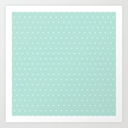 Aqua blue and White cross sign pattern Art Print