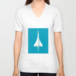 Concorde Supersonic Jet Airliner Aircraft - Cyan Unisex V-Neck