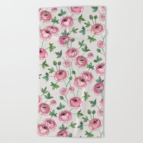 Painted Pink Ranunculus Pattern Beach Towel