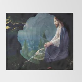 Jesus Christ On Mount Olive With White Rose By Annie Zeno Throw Blanket