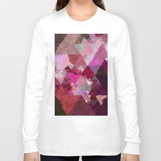 When the night comes- Dark red purple triangle pattern- Watercolor Illustration Long Sleeve T-shirt