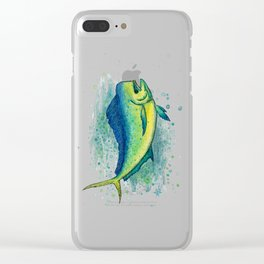 """Mahi Mahi Splash"" by Amber Marine ~ Watercolor & Ink Painting, (Copyright 2016) Clear iPhone Case"