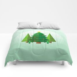 Geometric Christmas Trees Comforters