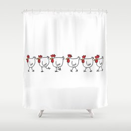 Chickens on the Move Shower Curtain
