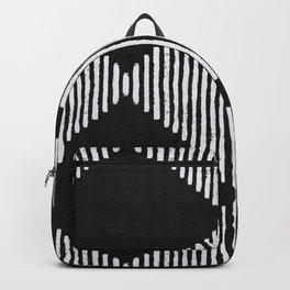 Diamond Stripe Geometric Block Print in Black & White Backpack