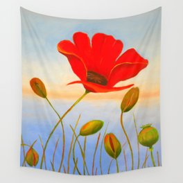 Red Poppy Sunset Wall Tapestry