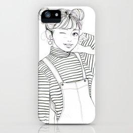 Stripes - fashion art, girl drawing, girl portrait, fashion illustration iPhone Case