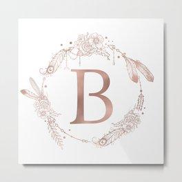 Letter B Rose Gold Pink Initial Monogram Metal Print