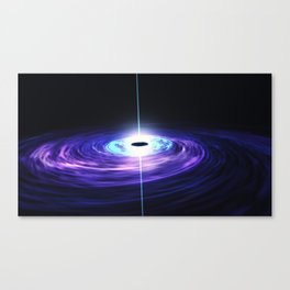Supermassive black hole feasts on the hot accretion disk around it and at the same time shooting out Canvas Print