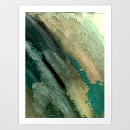 Green Thumb - an abstract mixed media piece in greens and blues Art Print