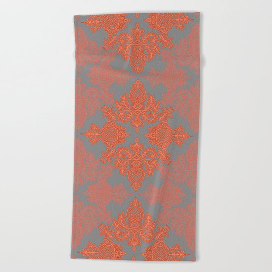 Burnt Orange, Coral & Grey doodle pattern Beach Towel