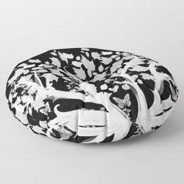 The Zen Tree - White on Black Floor Pillow