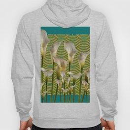 Teal Color Ivory Calla Lilies Garden Art Hoody