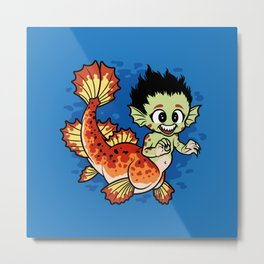 Crimson Pond Dragon Metal Print