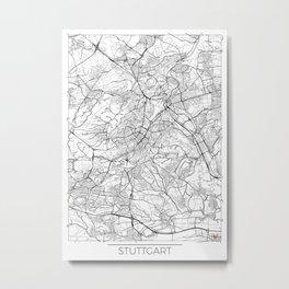 Stuttgart Map White Metal Print