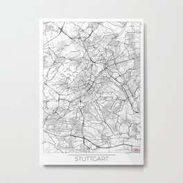 Stuttgart Map White Metal Print