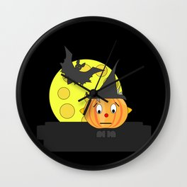 Funny emotionless pumpkin head with bat and moon Wall Clock
