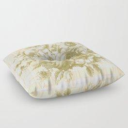 Vintage Rose on Plaid Floor Pillow