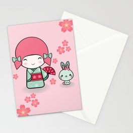 Kokeshi doll - Keiko e Usagi Stationery Cards