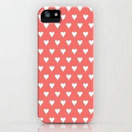 Coral White Hearts Pattern iPhone Case