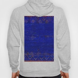 V11 Calm Blue Printed of Original Traditional Moroccan Carpet Hoody