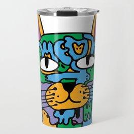 Mischief the Trippy Cat Travel Mug
