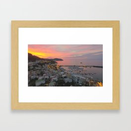 A sunset on the island of Ischia Framed Art Print