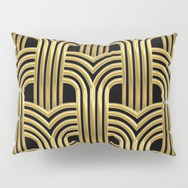 3-D Art Deco Sultry Cuban Nights Gold Pattern Pillow Sham