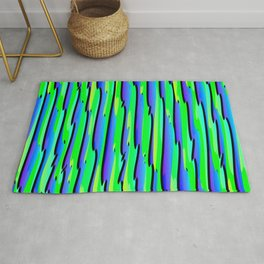 Vertical vivid curved stripes with imitation of the bark of a light blue tree trunk. Rug