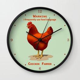 Funny Rhode Island Red Hen Fowl Language Chicken Farmer Wall Clock
