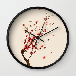 Oriental plum blossom in spring 005 Wall Clock