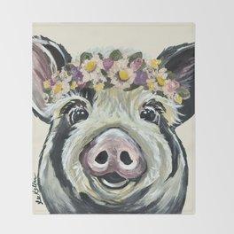Pig Art, Flower Crown Pig, Farm Animal Throw Blanket