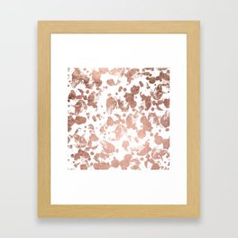 Luxurious faux rose gold foil brustrokes splatters Framed Art Print