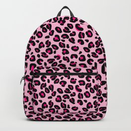Cotton Candy Pink and Black Leopard Spots Animal Print Pattern Backpack