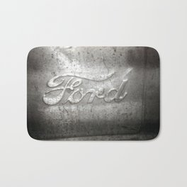 Ford Motors Black and white film Photography Bath Mat
