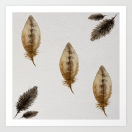 watercolor ethnic birds feathers Art Print