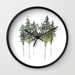 Stay Wild - pine tree stencil words art print Wall Clock
