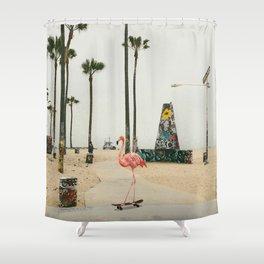 Venice Beach Flamingo Shower Curtain