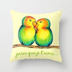 Love Birds on a Branch Throw Pillow