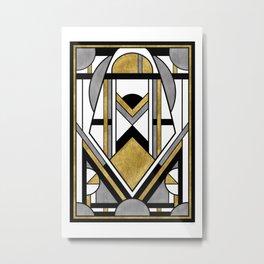 Up and Away - Art Deco Spaceman Metal Print