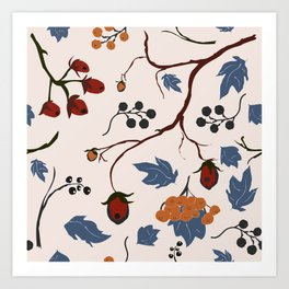 seamless pattern with forest berries Art Print