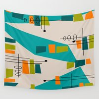 mid century modern Wall Tapestries featuring Mid-Century Modern Abstract by Kippygirl