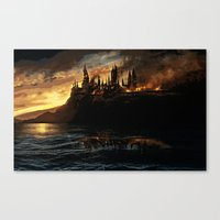 harry potter Canvas Prints featuring Harry Potter - Hogwart's Burning by Juniper Vinetree