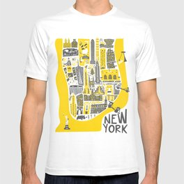 Manhattan New York Map T-shirt