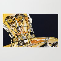 c3po Area & Throw Rugs featuring C3PO by Laura-A