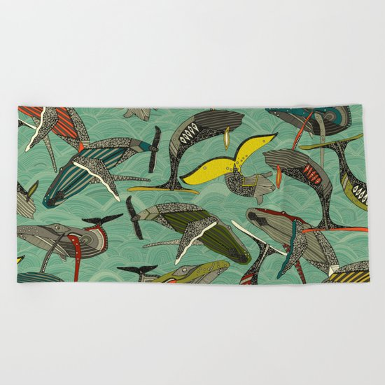 whales and waves jade Beach Towel
