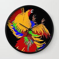 cock Wall Clocks featuring Cock Fight by Saundra Myles