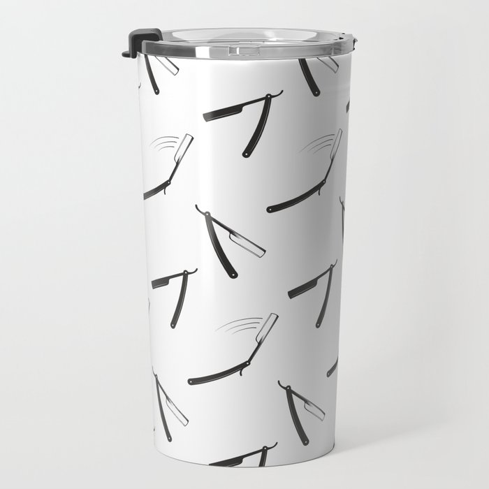 Barbershop pattern with shaving razor Travel Mug
