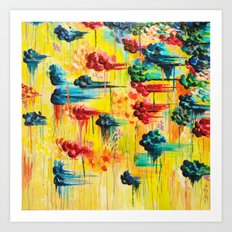 HERE COMES THE RAIN - Abstract Acrylic Painting Rain Storm Clouds Colorful Rainbow Modern Impasto Art Print